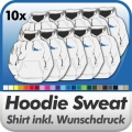 10 Hoodie Sweatshirts in Wunschfarbe inkl. Druck
