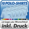 10 Polo-Shirts in Wunschfarbe inklusive Druck