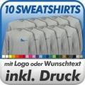 10 Sweatshirts in Wunschfarbe inklusive Druck