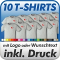 10 T-Shirts in Wunschfarbe inklusive Druck