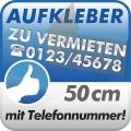 2 Aufkleber Zu Vermieten + Telefonnummer 50cm