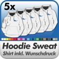 5 Hoodie Sweatshirts in Wunschfarbe inkl. Druck
