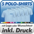 5 Polo-Shirts in Wunschfarbe inklusive Druck