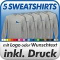 5 Sweatshirts in Wunschfarbe inklusive Druck