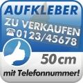 Aufkleber Zu Verkaufen + Telefonnummer 50cm