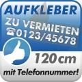 Aufkleber Zu Vermieten + Telefonnummer 120cm