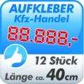 KFZ-Preis Aufkleber universal, 12 Stück á 40cm