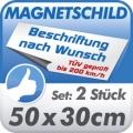 Magnetschild 50x30cm, 2er Set, TÜV geprüft