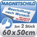 Magnetschild 60x50cm, 2er Set, TÜV geprüft